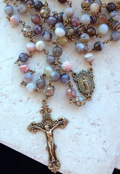 Faceted Botswana agate rosary with miraculous medal and filigree crucifix.  gailgirondesign