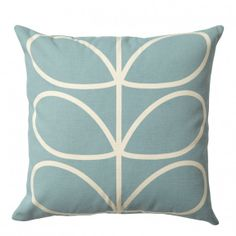 Stylish duck egg #blue Orla Kiely square #cushion with iconic Linear Stem pattern and zip closure. This classic print will enliven any sofa or chair in your home and has a contrasting reversed pattern to the rear panel.
