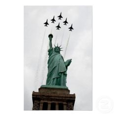 Six USAF Thunderbird F-16 Fighting Falcons Fighter Aircraft Poster ... flying over Lady Liberty, New York City.