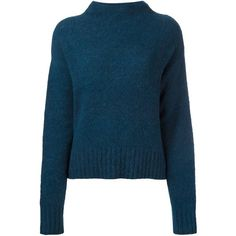 T By Alexander Wang funnel neck jumper ($239) ❤ liked on Polyvore featuring tops, sweaters, blue, t by alexander wang, funnel neck sweater, jumper top, funnel sweater and blue top