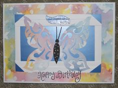 Birthday Card with hand cut butterfly and iris folding background