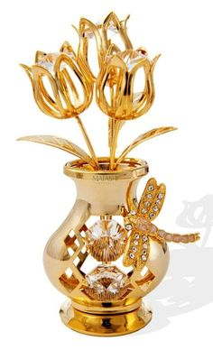Beautifully Crafted Crystal & Gold Flower Tulips with Dragonfly in a Vase Table Top Ornament Decorative Urn