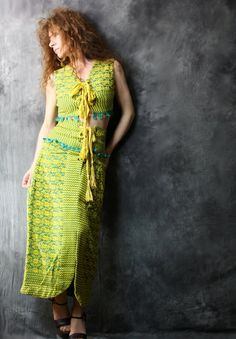 Vintage 1960s or 1970s woven tribal hippie dress skirt and top outfit. Laces up on the top and on the skirt, so cute!