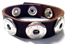 Interchangeable leather snap bracelet, snap leather bracelet snap bracelet brown leather snap cuff leather noosa gingersnaps inspired by TheSnapExchange on Etsy