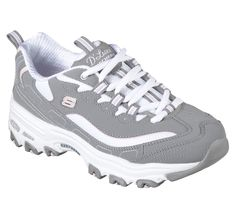 A classic look gets updated with comfort in the SKECHERS D'Lites - Biggest Fan shoe. Smooth trubuck leather and fabric upper in a lace up sporty casual sneaker with stitching and overlay accents. Casual Sneakers, Air Max Sneakers, Sketchers Shoes Women, Skechers D Lites, Sport Casual, Sock Shoes, Lace Up Shoes, Athletic Shoes, Fan