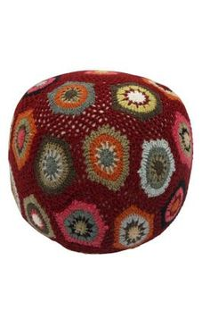 Wool pouf with a medallion motif. Handmade in India. Product: Pouf Construction Material: Wool Color: Multi Features: Handmade in India Dimensions: H x Diameter Crochet Pouf, Crochet Cushions, Crochet Baby, Pouf Ottoman, Discount Rugs, Rugs Usa, Kids Furniture, Furniture Sale, Joss And Main