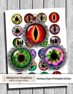 Fantasy Eyes 10mm 12mm 14mm 16mm 18mm Digital Eyes Printable Digital Collage Sheet Instant Download