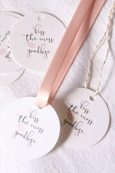 Kiss the Miss Goodbye Bridal Shower Favor Tags, Lipstick Favors, Rose Gold Thank You, Blush Gift, Bachelorette Party Favor, Team Bride Label