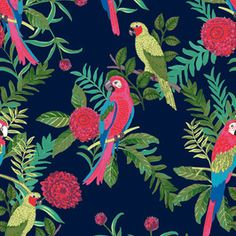 Parrots Paradise by Melanie Gow Seamless Repeat Royalty-Free Stock Pattern