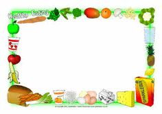 Healthy eating A4 page borders (SB2992) - SparkleBox
