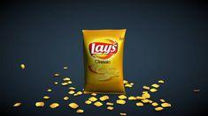 Crix Advert 1 - How to model and animate potato chip bag in Cinema (Part 3d Cinema, Maxon Cinema 4d, Cinema 4d Tutorial, Stop Motion, Motion Video, Potato Chips, Motion Design, Motion Graphics, Potatoes
