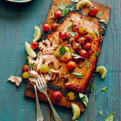 Cedar Plank Salmon with Blistered Tomatoes.