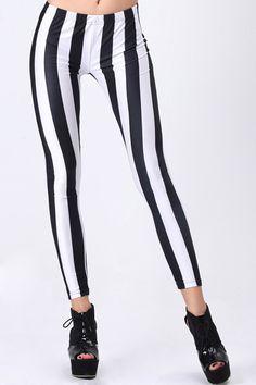 #romwe Black-White Stripe Leggings