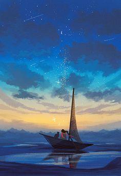 """❄제딧/9Jedit en Twitter: """"배가 멈춘 덕분에, 우리는 하늘을 올려다보고 별들을 세고, 서로를 좀 더 들여다볼 수 있었지요. 339/365… """" Illustration Story, Photo D Art, Fantasy Island, Virtual Art, Digital Painting Tutorials, Scenery Wallpaper, Anime Scenery, Beautiful Drawings, Illustrations And Posters"""
