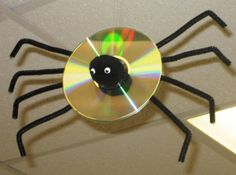 spider-decorations We have a ton of old CDs at home for this!