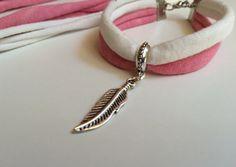Conjunto collar y pulsera tela rosa y por Elbauldelaschuladas