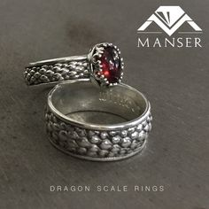 Vintage dragon scale rings with red garnet stones. We cast the rings in Silver in order to oxidize the background. Garnet Stone, Red Garnet, Dragon Ring, Dragon Scale, Class Ring, Gemstone Rings, Silver Rings, Stones, Jewelry Making