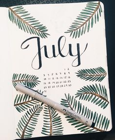 Summer is here and it's time to start thinking about July Bullet Journal themes. And setting up a new journal if your last one is running out of pages! running 20 July Bullet Journal Themes You'll Be Excited to Try Out Bullet Journal Topics, Bullet Journal Doodles, Bullet Journal Headers, Bullet Journal Cover Page, Bullet Journal Notebook, Bullet Journal Aesthetic, Bullet Journal School, Bullet Journal Layout, Bullet Journal Inspiration