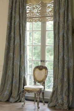 drapery panels with lace shade
