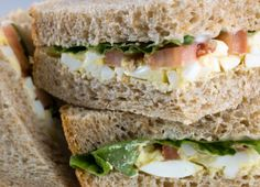 Bacon and Egg Salad Sandwich Recipe  The natural, obvious progression of egg salad sandwiches. Eggs and bacon. Bacon and eggs. Add a little lettuce and tomato it's like eating a BLT and an egg salad sandwich at the same time. Wowzers, you've got a party sandwich.