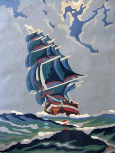 Add to your collection of paint by number masterpieces or decorate a little boys room in a nautical theme. Measuring 16 x 12 , painted on paper,
