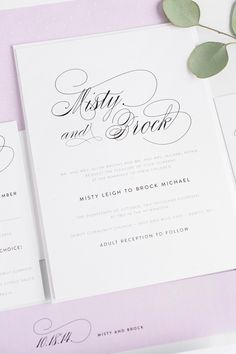 Gorgeous simple and elegant script wedding invitations with amethyst purple accents | Shine Wedding Invitations