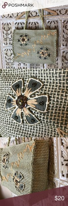"""Large oversized basket weave beach bag Large oversized basket weave beach bag with Embellishments. Excellent condition. The zipper does not work but everything else is in perfect condition. Bag height 11 1/2"""". Bag length about 16"""". Strap drop about 11"""". Bags"""