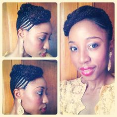 We call it the Yvonne- Corn rows from the back to the front and twists in the front #NaturalHairRocks