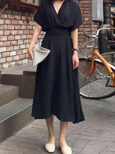 11cef7cef53 カジュアルワンピース韓国風ウェスト絞り半袖vネック着痩せレディースファッション