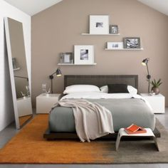 Bedroom Shelving Ideas. Also the big mirror is a must.