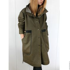 Пальто из двухсторонней ткани. Цвет хаки - купить или заказать в интернет-магазине на Ярмарке Мастеров - C2DZJRU. Санкт-Петербург | Пальто из современного 2-хстороннего материала…