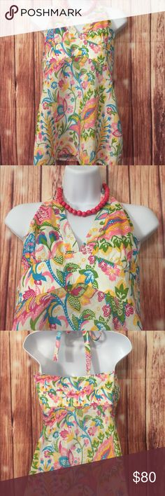 Laundry by Shelli Segal Sz M Halter top Laundry by Shelli Segal  size m halter top ! Beautiful bright colors with floral, paisley print !  Empire waist measurement - 30 inches Length from underarm to hem - 19 inches Laundry By Shelli Segal Tops Tank Tops