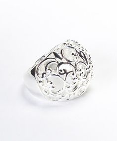 Take a look at this Silver Fleur-de-Lis Filigree Dome Ring by Moda Designs on #zulily today!