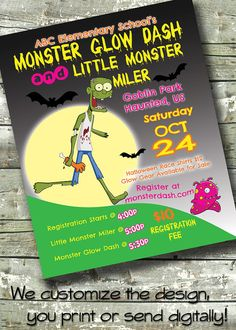 Monster Glow Dash Halloween Fundraiser Fun Run by DitDitDigital
