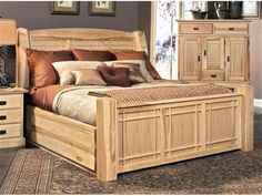 amish hickory bedroom furniture bed with storage ahi nt 5 07 1