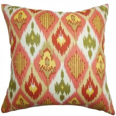 Bechet Ikat Pillow Pink Yellow ($49) ❤ liked on Polyvore featuring home, home decor, throw pillows, yellow toss pillows, yellow throw pillows, square throw pillows, pink throw pillows and yellow home decor