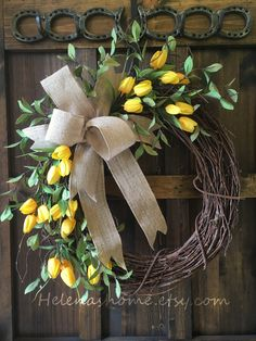 Your place to buy and sell all handmade things, Spring wreath / tulip wreath / yellow tulip wreath / Easter wreath / front door wreath / spring tulip wreath / Easter decor / spring decor. Spring Front Door Wreaths, Diy Spring Wreath, Diy Wreath, Wreath Bows, Tulip Wreath, Yellow Tulips, Front Door Decor, Front Doors, Easter Wreaths