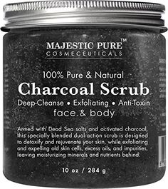 Charcoal Body Scrub and Facial Scrub from Majestic Pure 10 Oz  Natural Skin Care Formula Helps Improve Complexion and Fights Acne >>> Click image for more details. Note:It is Affiliate Link to Amazon.