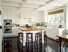 kitchen, butcher block island, white