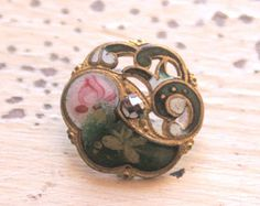 Antique Pierced French Enamel Button with Marcasite.