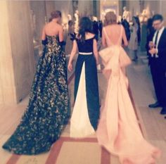 Taylor Swift, Zooey Deschanel and Karlie Kloss in Gala Gowns, from the back ~ Ballgowns make me swoon!