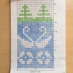 Ritat mönster i färg till pulsvärmaren Knitting Charts, Knitting Stitches, Knitting Socks, Knitting Patterns, Crochet Patterns, Cross Stitch Borders, Cross Stitch Animals, Tapestry Crochet, Crochet Motif