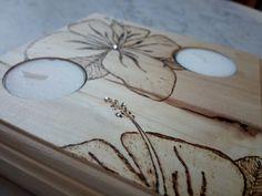 Pirografia candele fiori con swarovski handmade by sbirulina