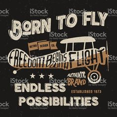 Vintage airplane lettering for printing. Vector prints, old school aircraft royalty-free stock vector art