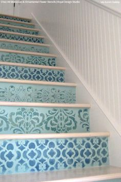 3dd0122bf5d72 Simple to Sensational  12 Stencil Ideas for Your Stairs - Painted Stair  Risers using Moroccan