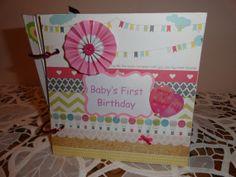 Pre-made Baby Girls First Birthday Keepsake scrapbook