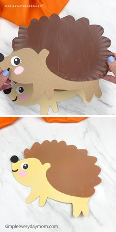 This paper plate hedgehog is a fun and easy fall craft for kids! Download the free printable template and make with pre k children this fall!