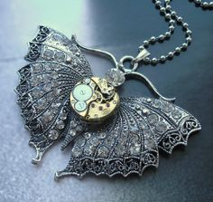 Steampunk Necklace  Jewelry butterfly by steampunkerstudio on Etsy, Kč900.00