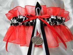 nascar racing themed wedding garter with racing flags charm