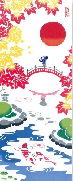Japanese Tenugui Cotton Fabric, Japanese Garden & Kimono Woman, Pond, Red Autumn Leaf, Carp, Hand Dyed Fabric, Traditional Art Fabric, JapanLovelyCrafts